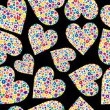 Seamless Tile of Flower Filled Hearts stock photos