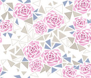 Seamless tile mosaic design pattern with roses background Stock Image