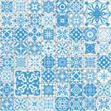 Seamless tile pattern. Colorful lisbon, mediterranean floral ornament pattern. Square flower blue mosaic. Islam, Arabic, Indian, T Royalty Free Stock Photo