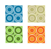 Seamless tile pattern with coloured circles stock illustration