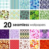 Seamless tile patterns. 20 seamless wallpaper. Golden collections Royalty Free Stock Photo