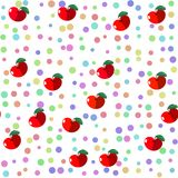Seamless tile with red fruit apples and pastel colored dots Stock Photos