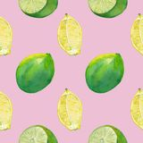 Seamless tile with lemon and lime on pink royalty free stock photo