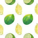 Seamless tile with lemon and lime on white stock photo
