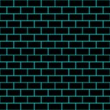 Seamless/Tileable black brick wall. Outlined in cyan. Horizontally and vertically seamless Royalty Free Stock Photography