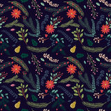 Seamless Tileable Christmas Holiday Floral Background Pattern. Vector Illustration Stock Images
