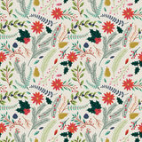 Seamless Tileable Christmas Holiday Floral Background Pattern. Vector Illustration Stock Photo