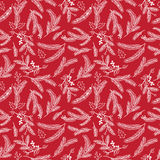 Seamless Tileable Christmas Holiday Floral Background Pattern. Vector Illustration Stock Image
