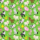 Seamless, Tileable Farm Animal and Barnyard Background Stock Photos
