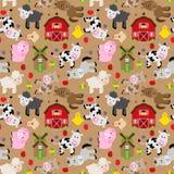 Seamless, Tileable Farm Animal and Barnyard Background Stock Image