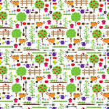 Seamless, Tileable Farming or Gardening Themed Vector Background Royalty Free Stock Photography