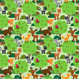 Seamless, Tileable Forest Animals Vector Background Royalty Free Stock Images