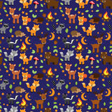 Seamless, Tileable Forest Animals Vector Background Stock Photos