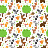 Seamless, Tileable Forest Animals Vector Background. Pattern Stock Photography