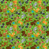 Seamless, Tileable Forest Animals Vector Background Stock Photography