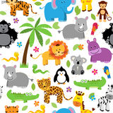 Seamless, Tileable Jungle Animal Themed Background Patterns Royalty Free Stock Photography