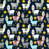 Seamless, Tileable Llama and Cactus Pattern royalty free illustration