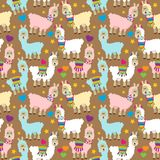 Seamless, Tileable Llama and Cactus Pattern vector illustration