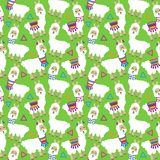 Seamless, Tileable Llama and Cactus Pattern stock illustration