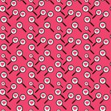 Seamless/Tileable magnifying glass and pink hearts pattern. Shades of pink. Horizontally and vertically seamless Vector Illustration