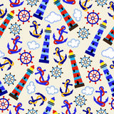 Seamless Tileable Nautical Themed Vector Background or Wallpaper Royalty Free Stock Photography