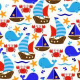 Seamless Tileable Nautical Themed Vector Background or Wallpaper Stock Photo