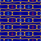 Seamless Tileable Nautical Themed Vector Background or Wallpaper Royalty Free Stock Images