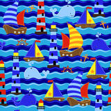 Seamless Tileable Nautical Themed Vector Background or Wallpaper Stock Photography