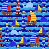 Seamless Tileable Nautical Themed Vector Background or Wallpaper. Seamless Tileable Nautical Themed Vector Background, Wallpaper or Texture Stock Photography