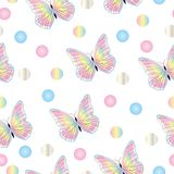 Seamless tileable pattern with butterflies in pastel colors Royalty Free Stock Image