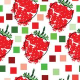 Seamless tileable pattern with strawberries vector and squares. On white background Royalty Free Stock Images