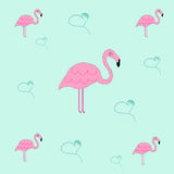 Seamless tileable texture with flamingo and hearts. Blue background Royalty Free Stock Photo