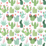 Seamless, Tileable Vector Background with Cactus and Succulents Stock Photo
