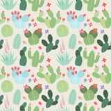 Seamless, Tileable Vector Background with Cactus and Succulents Stock Photography