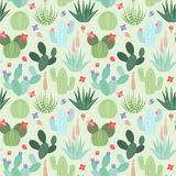 Seamless, Tileable Vector Background with Cactus and Succulents. Seamless, Tileable Vector Background with Cactus and Succulent Plants Stock Photo