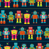 Seamless Tileable Vector Background Pattern with Cute Robots Stock Photography