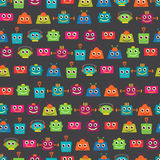 Seamless Tileable Vector Background Pattern with Cute Robots Stock Photos