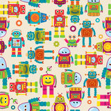 Seamless Tileable Vector Background Pattern with Cute Robots Stock Illustration