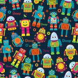 Seamless Tileable Vector Background Pattern with Cute Robots Royalty Free Stock Image