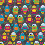 Seamless Tileable Vector Background Pattern with Cute Robots Stock Images