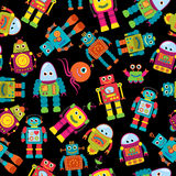Seamless Tileable Vector Background Pattern with Cute Robots Royalty Free Stock Photography