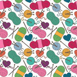 Seamless, Tileable Vector Background with Yarn, Knitting Needles Royalty Free Stock Images