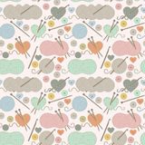 Seamless, Tileable Vector Background with Yarn, Knitting Needles Stock Image