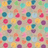Seamless, Tileable Vector Background with Yarn, Knitting Needles Royalty Free Stock Image