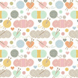 Seamless, Tileable Vector Background with Yarn, Knitting Needles Stock Photos