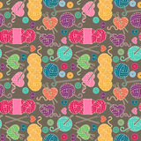Seamless, Tileable Vector Background with Yarn, Knitting Needles Stock Photography