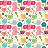 Seamless, Tileable Vector Background with Yarn, Knitting Needles Royalty Free Stock Photos
