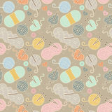 Seamless, Tileable Vector Background with Yarn, Knitting Needles Stock Images