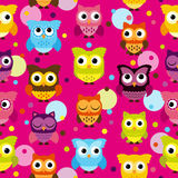 Seamless and Tileable Vector Owl Background Pattern. Bright Pink Seamless and Tileable Vector Owl Background Pattern Royalty Free Stock Image