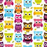 Seamless and Tileable Vector Owl Background Pattern. With Leaves Royalty Free Stock Image